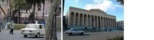 左:在トビリシ米国大使館(周囲は写真撮影が禁止されているため隠し撮り。写真:すべて筆者撮影)右:2003年、シェワルナゼ政権が打倒されたバラ革命の舞台となった、グルジア国会議事堂。同政権時代のロシア国旗に代わって、今はEU旗がはためく